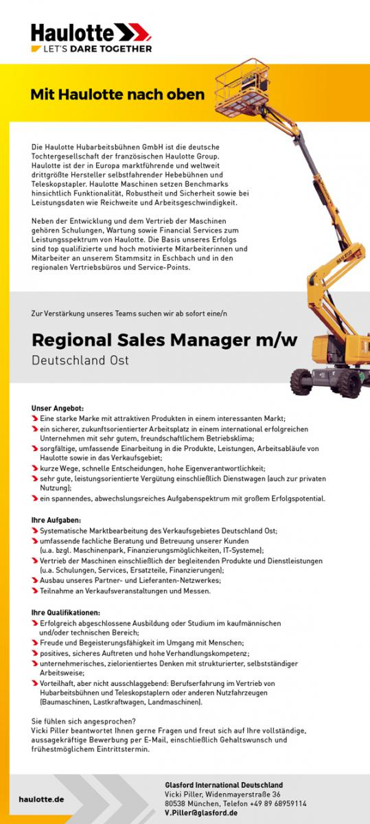 Stellenzeigen eEgional Sales Manager*in (Verkaufsgebiet Ost)