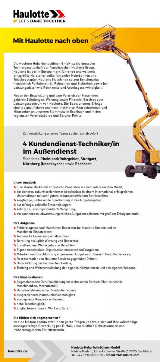 Stellenzeigen Haulotte Kundendienst-Techniker/in