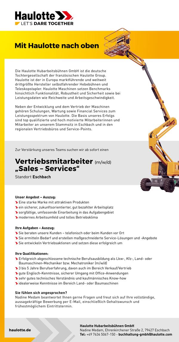 Stellenzeigen Haulotte Werkstattt-Techniker/in