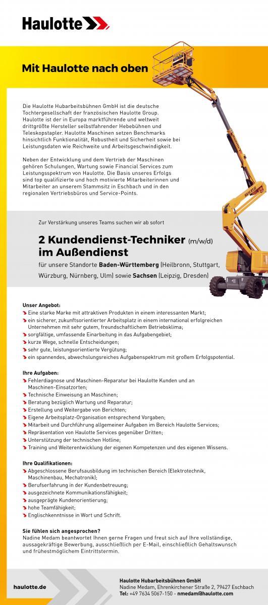 Stellenausschreibungen Kundendiensttechniker/in