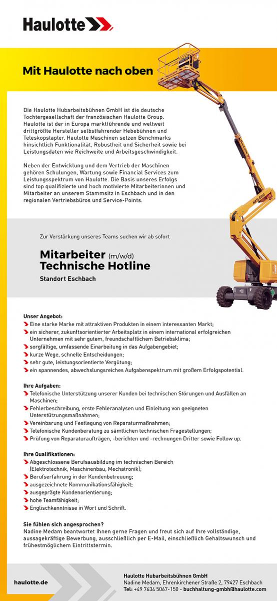 Stellenausschreibungen Mitarbeiter (m/w/d) Technische hotline